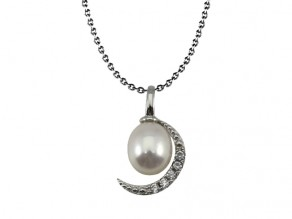 Freshwater Pearl & 925 Sterling Silver & CZ